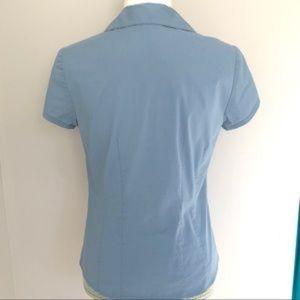 LOFT Tops - LOFT collared button down short sleeved top- blue